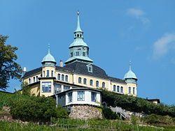 Spitzhaus above the vineyards of Radebeu, Germanyl