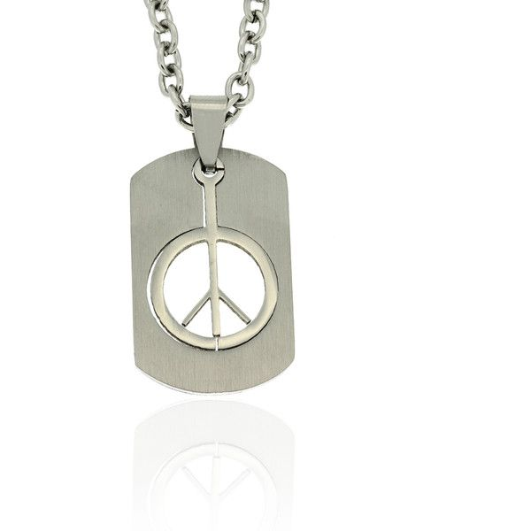 Gravity Stainless Steel Cutout Peace Sign Dog Tag Necklace (£13) ❤ liked on Polyvore featuring men's fashion, men's jewelry, men's necklaces, white, mens white gold chain necklace, mens dog tag necklace, mens pendant necklaces, mens white gold necklace and mens stainless steel chain necklace