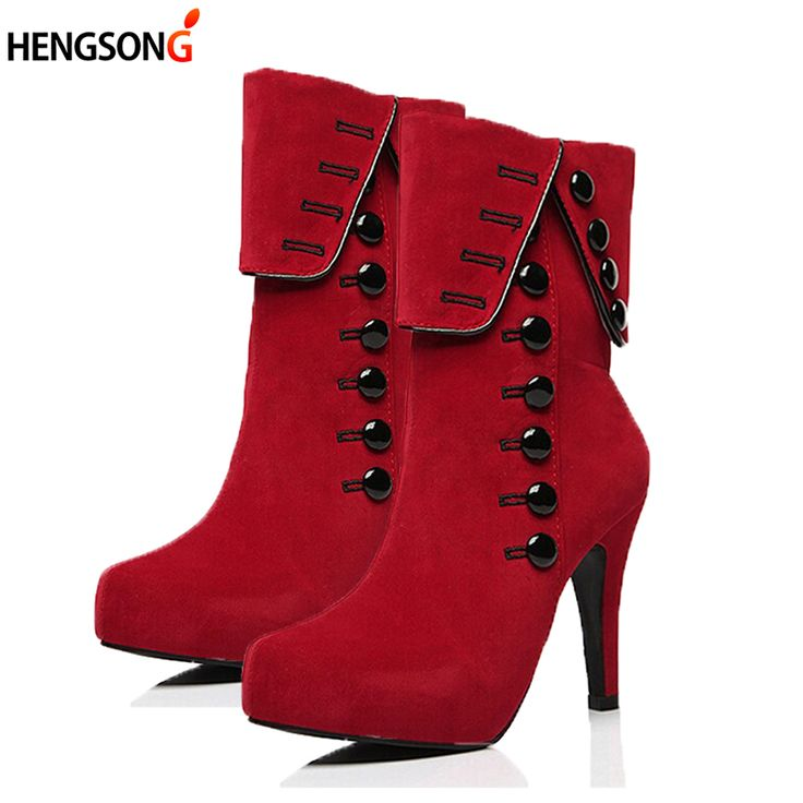 Women's Pull On High Heels Fabric Surface Solid Round Closed Toe Boots Red 36