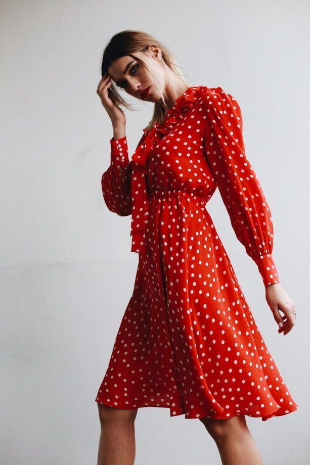 4be1b715b06 Платье шелковое красное в белый горох с бантом