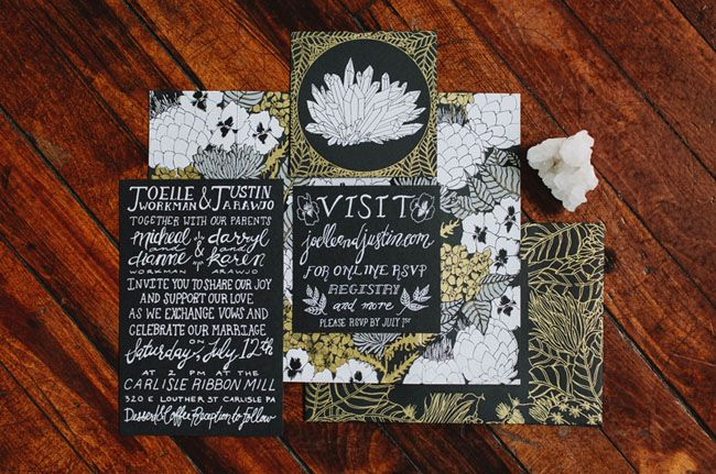 black and gold invitation http://greenweddingshoes.com/diy-pennsylvania-warehouse-wedding-joelle-justin/