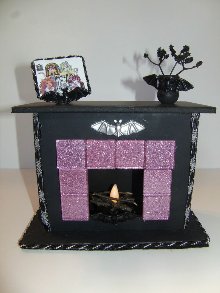 Monster High Doll Furniture *Light up Fireplace with Picture and Vase* Handmade!