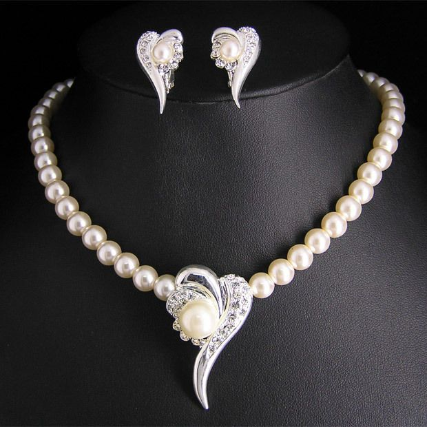 Wedding Bridal pearl &crystal necklace earring set S294