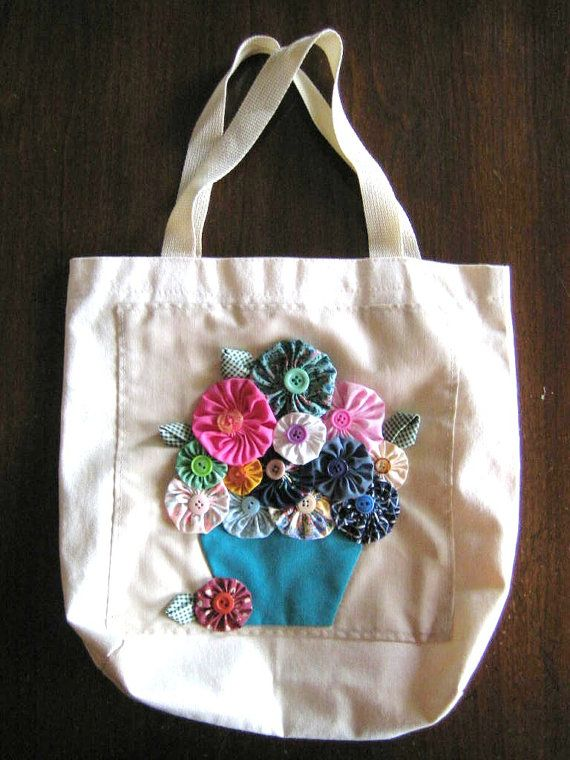 Yo Yo Patchwork Canvas Tote Flower Pot Gift by TrixiesNovelties