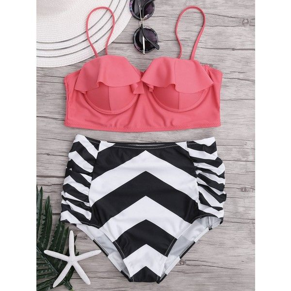 High Waisted Ruffled Zigzag Bikini Set ($9.79) ❤ liked on Polyvore featuring swimwear, bikinis, pink bikini, frilly bikini, pink swimwear, high-waisted swimwear and high waisted swim wear