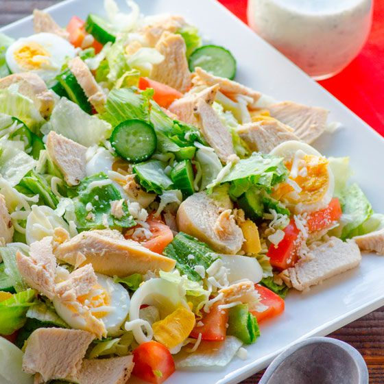 Healthy Chef Salad Recipe with veggies, eggs and chicken breast topped with healthy homemade ranch dressing. | ifoodreal.com
