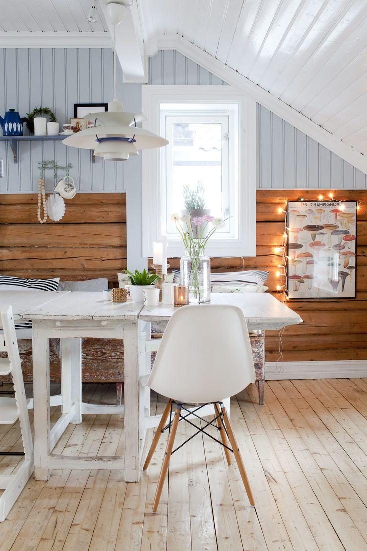 Hos Ingebjørg og familien setter tømmerveggene tonen for resten av stilen. Som er en blanding av brukt, nytt, hjemmelaget og design.