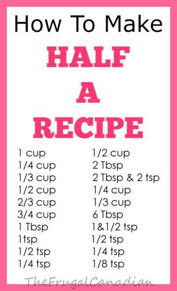 how to make half a recipe measurements chart sheet
