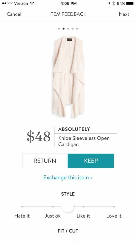 Absolutely Khloe Sleeveless Open Cardigan stitchfix.com/referral/5939587