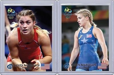 (2) Helen Maroulis rare RIO 2016 Olympic 1 of 25 Limited Edition Wrestling cards please retweet
