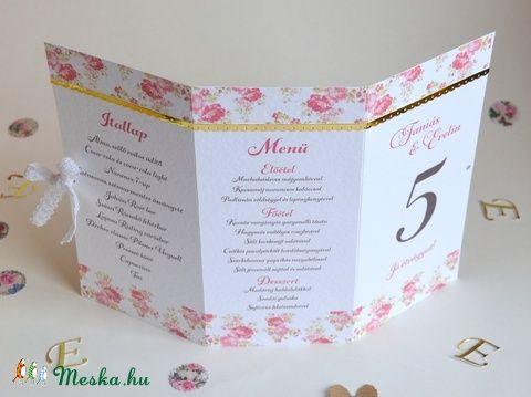 Vintage esküvői menü itallap asztalszám esküvő bridal wedding menu házassági évforduló babaváró babaköszöntő leánybúcsú keresztelő születésnap esküvői dekoráció romantikus virágos esküvő (kreativpercek) - Meska.hu