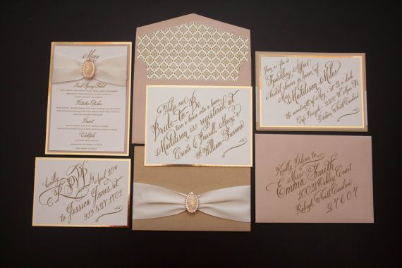 Glamourous Gold and Blush Bridal Shower Invitation by SuitePaper