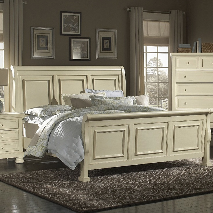 Reflections Parchment Bedroom King Sleigh Bed..Avail In Queen