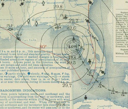 Weather Bureau surface weather map of the 1935 Labor Day Hurricane moving up the west coast of Florida