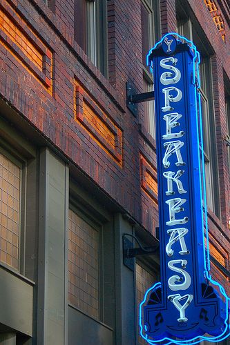 Neon Speakeasy sign in Downtown Austin.