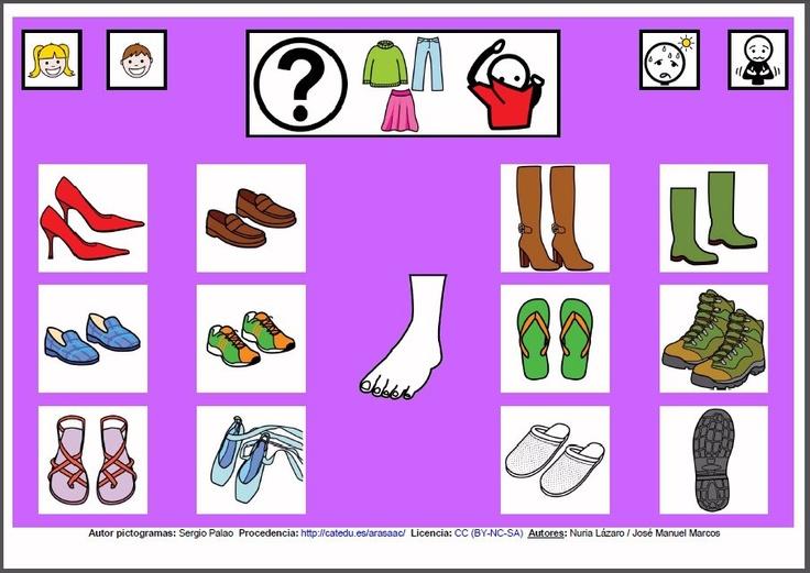 MATERIALES - Tableros de Comunicación de 12 casillas.    Tablero de comunicación de doce casillas sobre calzado.    http://arasaac.org/materiales.php?id_material=224