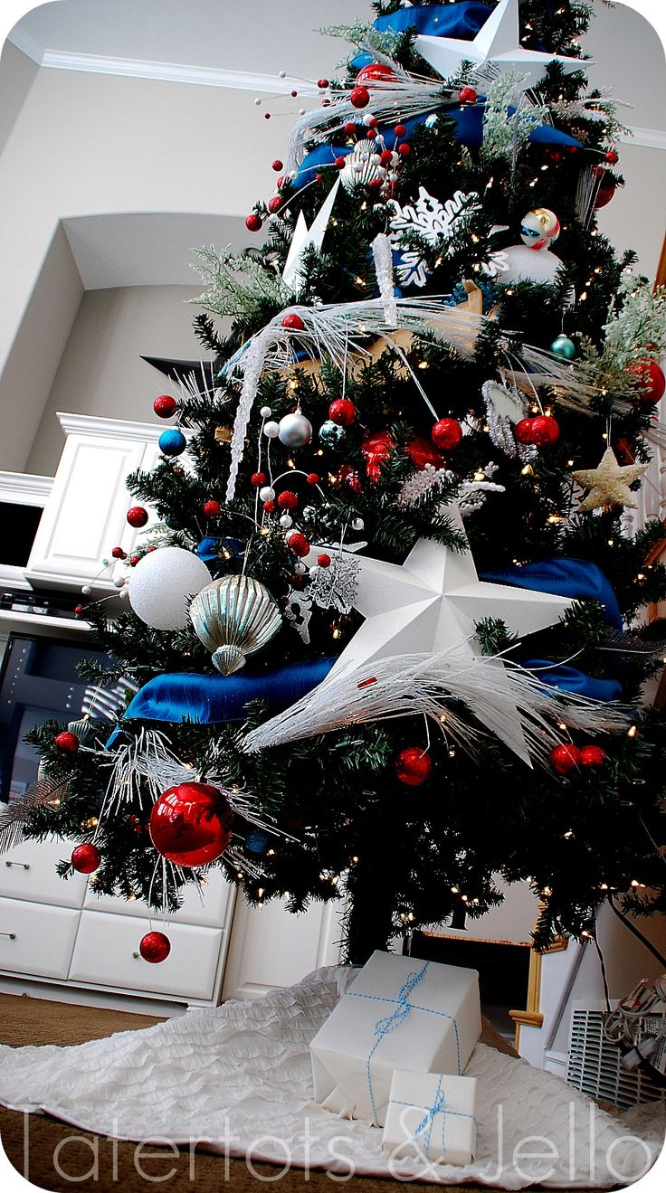 Red white and blue christmas ornaments - Red White And Blue Tree