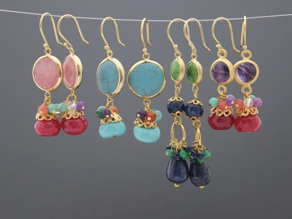 4   pair gemstones earrings wholesale lot bezels gold by KAFIKA