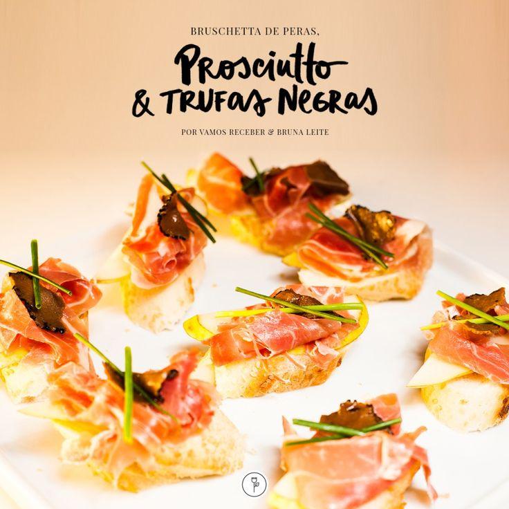 A querida chef Bruna Leiteelaborou a Bruschetta de Peras, Prosciutto & Trufas Negras e deu um toque gourmet e especialíssimo à uma fórmula de sucesso para entradas ou para servir como apertitivo.
