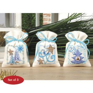 Blue Christmas Lavender Sachet Set - Cross Stitch, Needlepoint, Embroidery Kits – Tools and Supplies