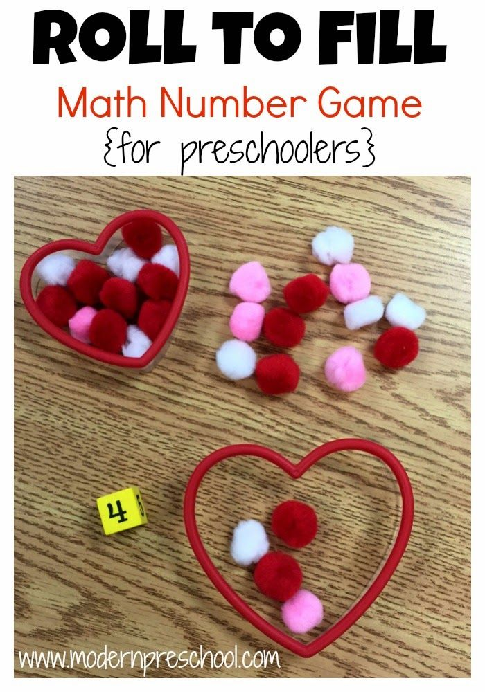 Heart roll and count math game for preschool and kindergarten for Valentine's Day!