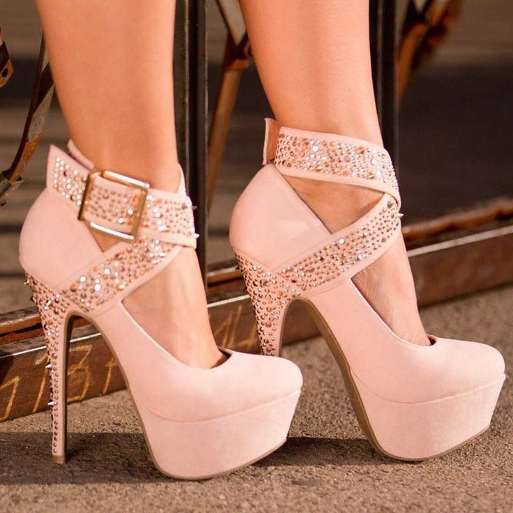 Light pink stilettos with hidden platform soles and sparkling buckled ankle straps