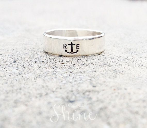 Men's Anchor Ring - Sterling Initial Ring - Personalized Wedding Band on Etsy, $60.00