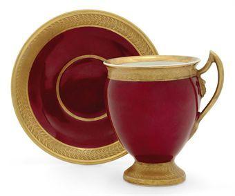 A Porcelain Cup and Saucer. Mezer Porcelain Factory. Baranovka, 1829. Christies.com: