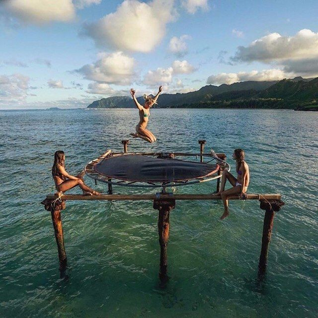 Hawaii with friends! This is a real trampoline on Oahu! PC: @pagevibe by…