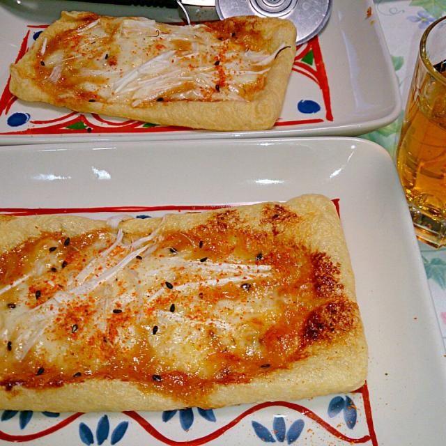 とっても美味しかったのでリピしました~♪ 今回もしらす抜きです(^^; 焼けた味噌マヨ( ゚д゚)ウマー! ウイスキーにも合いますよ! 咲きちゃん、ありがとうございます✨ - 73件のもぐもぐ - リピ  咲きちゃんさんのオツな肴シリーズ②ピリ辛ネギ味噌きつねピザ by numachev