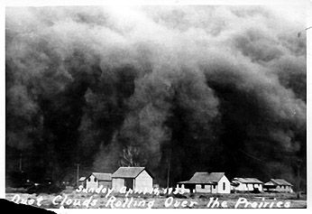 [photograph: Black Sunday, SW Kansas Dust Bowl, April 14, 1935, near Dodge City. All rights reserved, Ford County Historical Society, Dodge City, KS]