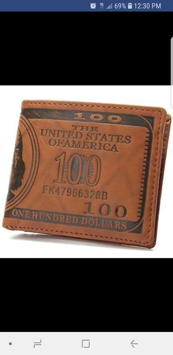 Leather Bifold Card Holder Wallet OURBAG Mens US $100 Dollar Bill Handbag Purse for Sale in Chesterfield, MO