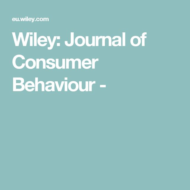 Wiley: Journal of Consumer Behaviour -