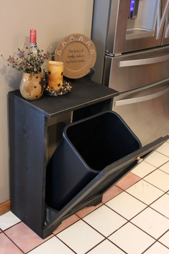 Primitive Rustic Tilt Out Trash Bin Black by WendellsWorkshop