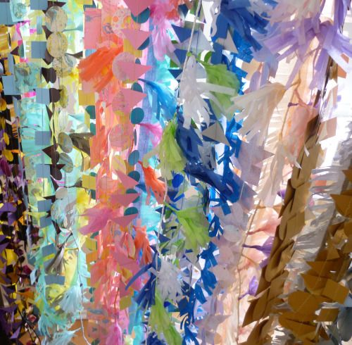 A curtain of colour…  Wedding décor by Paper Street Dolls Check out our site - paperstreetdolls.etsy.com