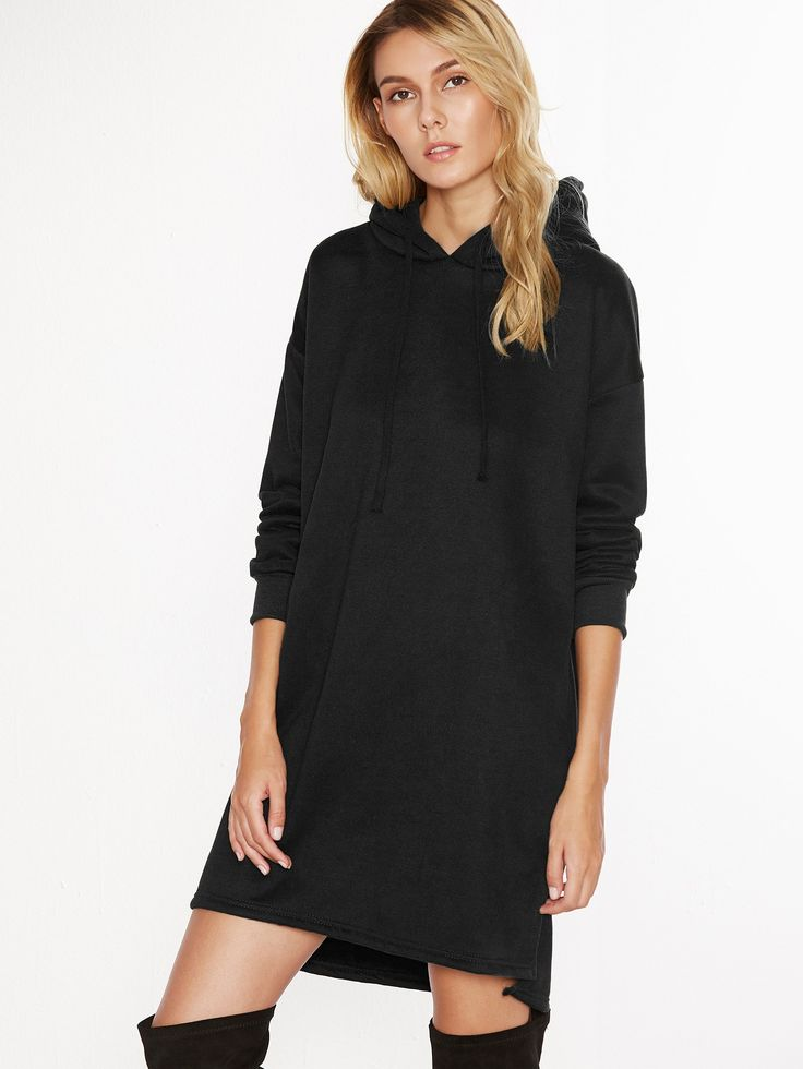 Black Hooded Slit Side Sweatshirt Dress - Party dresses outlet