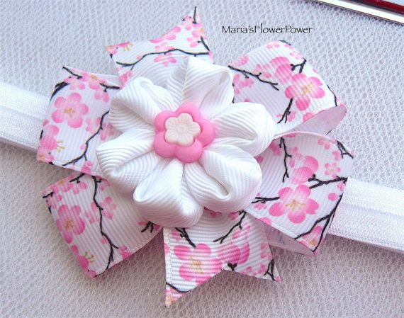 Hecho a mano bebé niño niña elástica venda elástica venda del pelo, Kanzashi niña regalo presente, prop de flor de tela flor foto recién