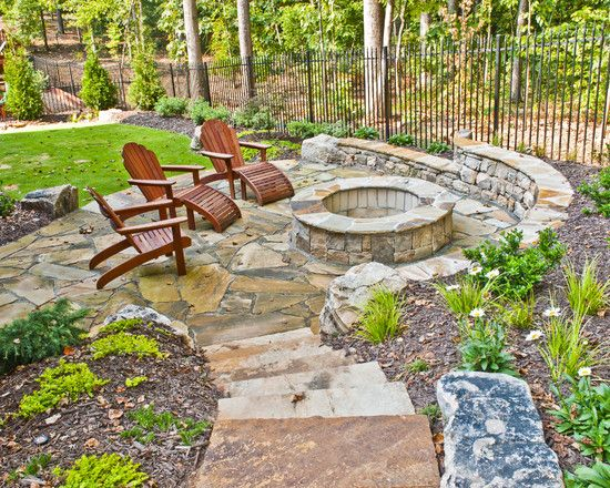 Flagstone Patio Firepits Design, Pictures, Remodel, Decor and Ideas