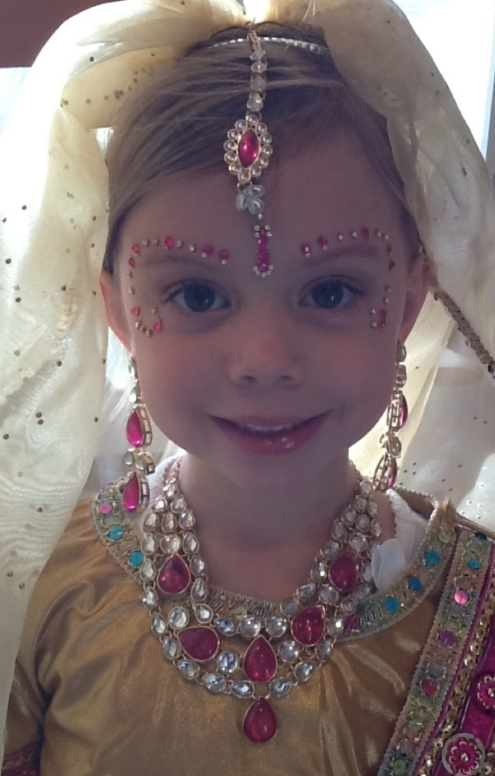 She loved being an Maharani princess from India.  Costume from Fireflies.