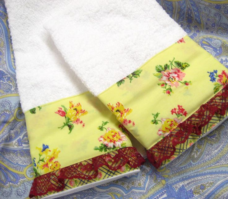 Laura Ashley Carlisle Floral Decorated on Cream Hand Towels Lace  #CustomDecorated #Linens