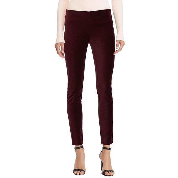 Lauren Ralph Lauren Women's Petite Corduroy Skinny Pant ($115) ❤ liked on Polyvore featuring pants, red, elastic waist corduroy pants, petite pants, stretch pants, red stretch pants and red skinny pants