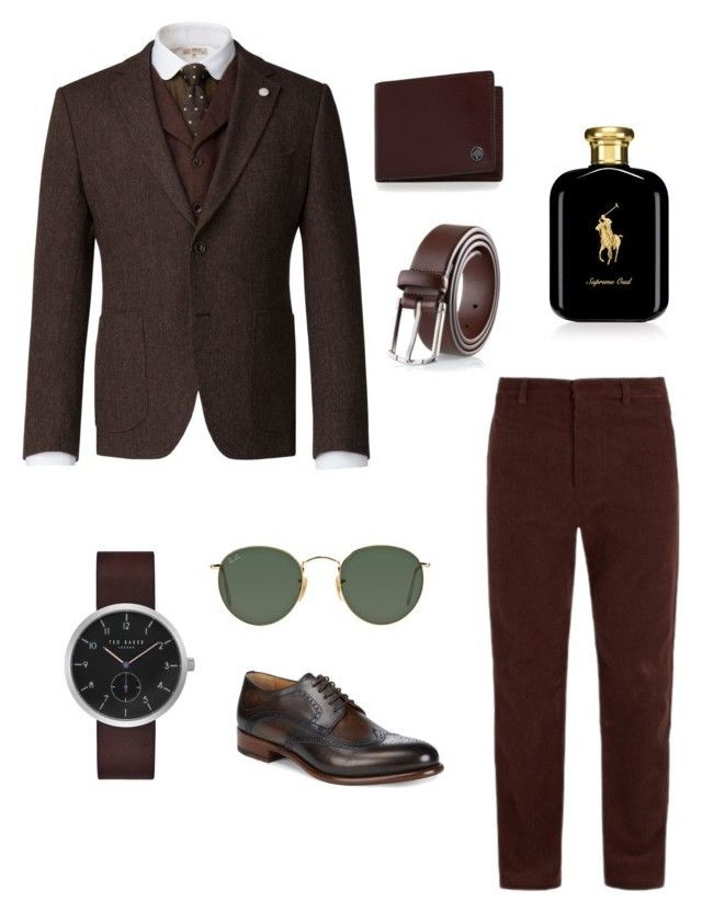 """""""Style for Him"""" by matinapapadopoulou on Polyvore featuring Fanmail, Ralph Lauren, Gibson, Ted Baker, Ray-Ban, Mulberry, Magnanni, men's fashion and menswear"""