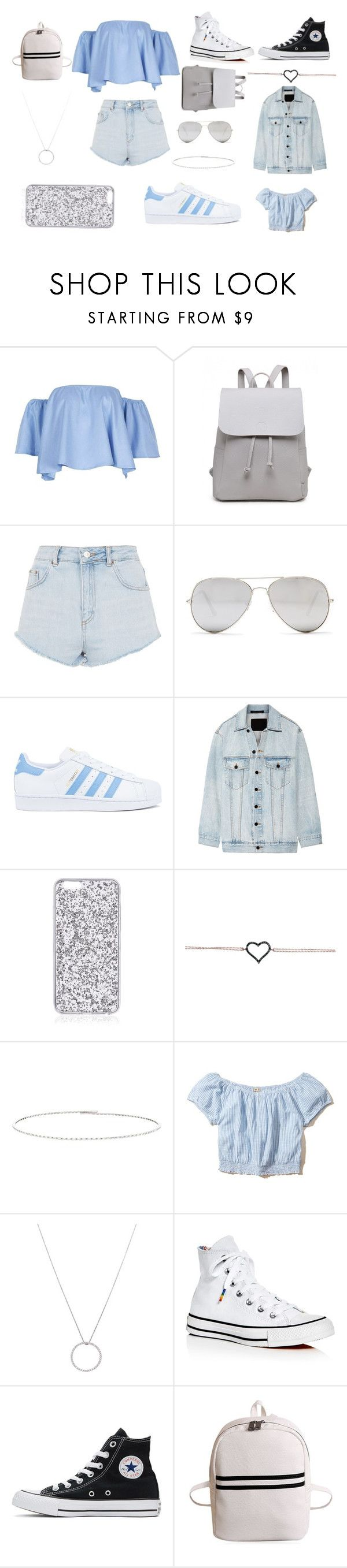 """""""Summer Fling"""" by stardustlliy ❤ liked on Polyvore featuring Topshop, Sunny Rebel, adidas, Alexander Wang, Suzanne Kalan, Hollister Co., Roberto Coin and Converse"""