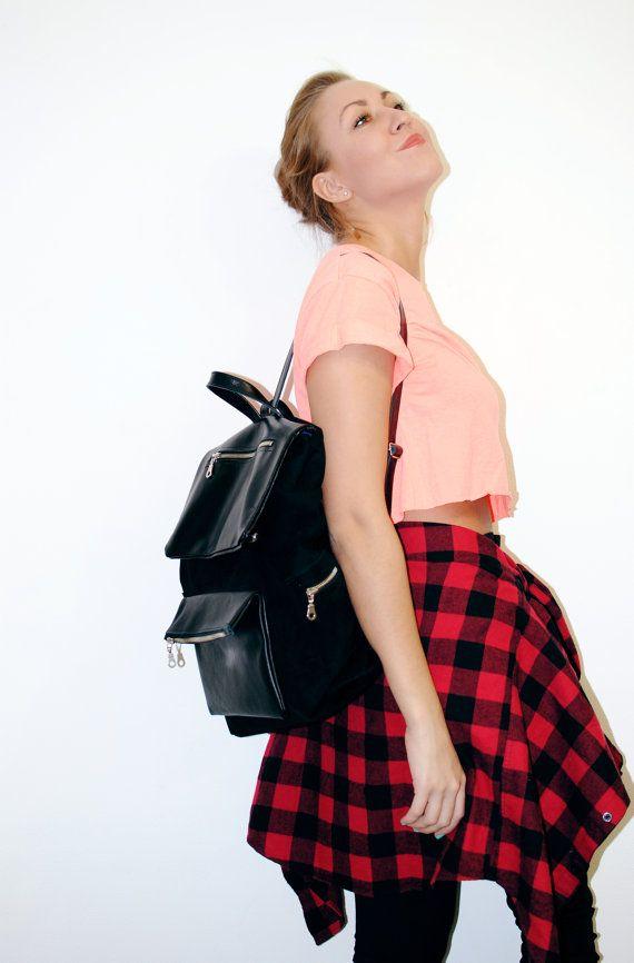 Genuine Leather  Suede Women  Men Black Backpack  by SutorminaBags