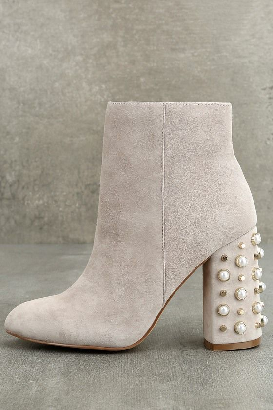 6d9ea933072 Make the sidewalk your runway in the Steve Madden Yvette Taupe Suede  Leather Studded Booties! Supple