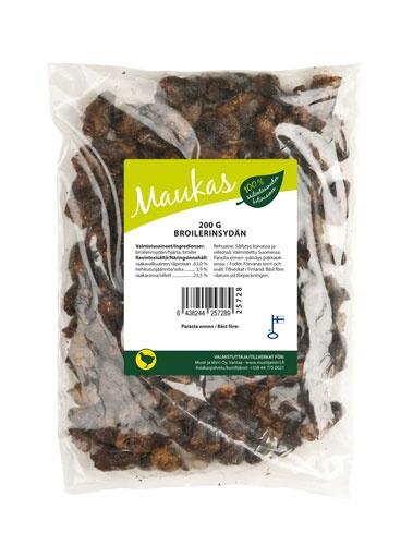 Nämä maistuvat koko eläinkatrallemme  Maukas Broilerin Sydän - 200 g - Musti ja mirri.fi