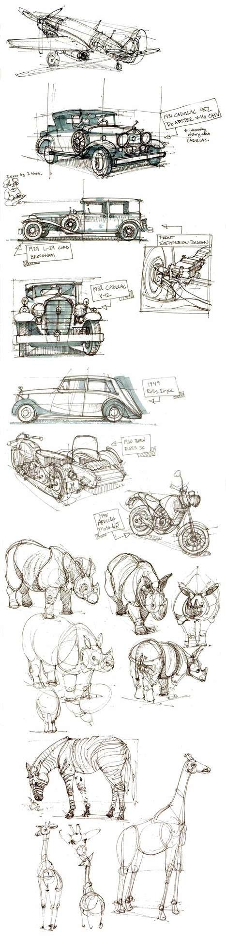 "sketches ""Yeah, yeah, there's some planes and a random rhino, but also some very cool cars."" KB"
