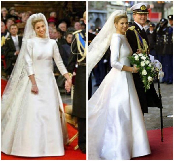 Queen Maxima's wedding dress. Love the structured neck and the 3/4 sleeves!