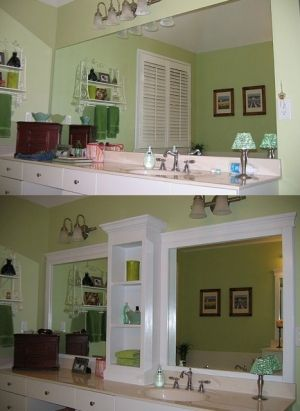 DIY revamped bathroom mirror - same mirror, just with a shelf and frame added! I like the middle shelf idea for the girls bathroom