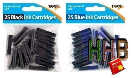 Fountain Pen Ink Cartridges Office Pens Kids School Stationery Supply Black/Blue #FountainPenInkCartridges